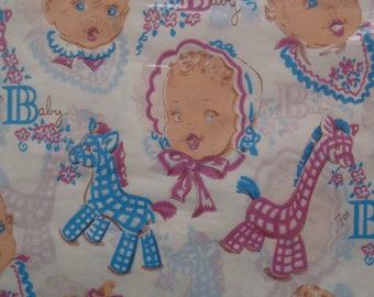 Vintage Gift Wrapping Paper - Baby Shower - New Baby Boys and Girls with Giraffes and Ponies - 2 Unused Full Sheets in Package by Dennison