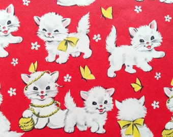 Vintage Gift Wrapping Paper - Juvenile Kid's Birthday - Red White and Yellow Playful Kitty Cats - 1 Unused Full Sheet Birthday Gift Wrap