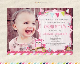 Look Whos Turning One Owl Birthday Invitation First