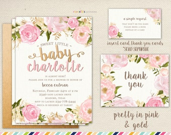 Rose baby shower etsy girl baby shower invitation flowers and pink summer spring rose baby shower filmwisefo