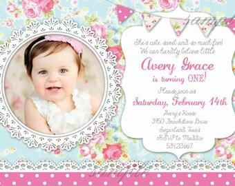Shabby Chic Birthday Invitation - First Birthday