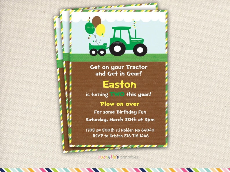 Green Tractor Birthday Party Invite And Thank You Cards Printable Invitations John Deere