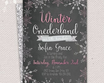 Winter ONEderland invitation - snowflake first birthday