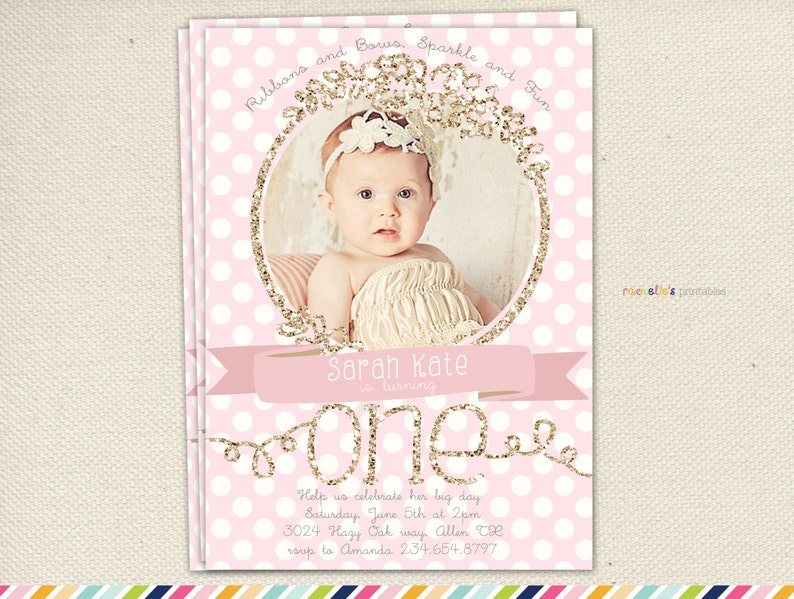 First Birthday Invitations Pink And Gold