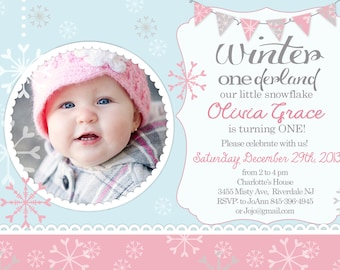 Winter OneDerland - Winter First Birthday invitation