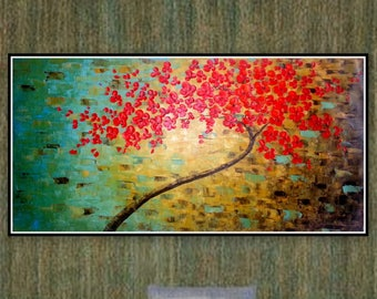 Large Original Oil Painting Tree Of Life Red Blooming Tree Etsy