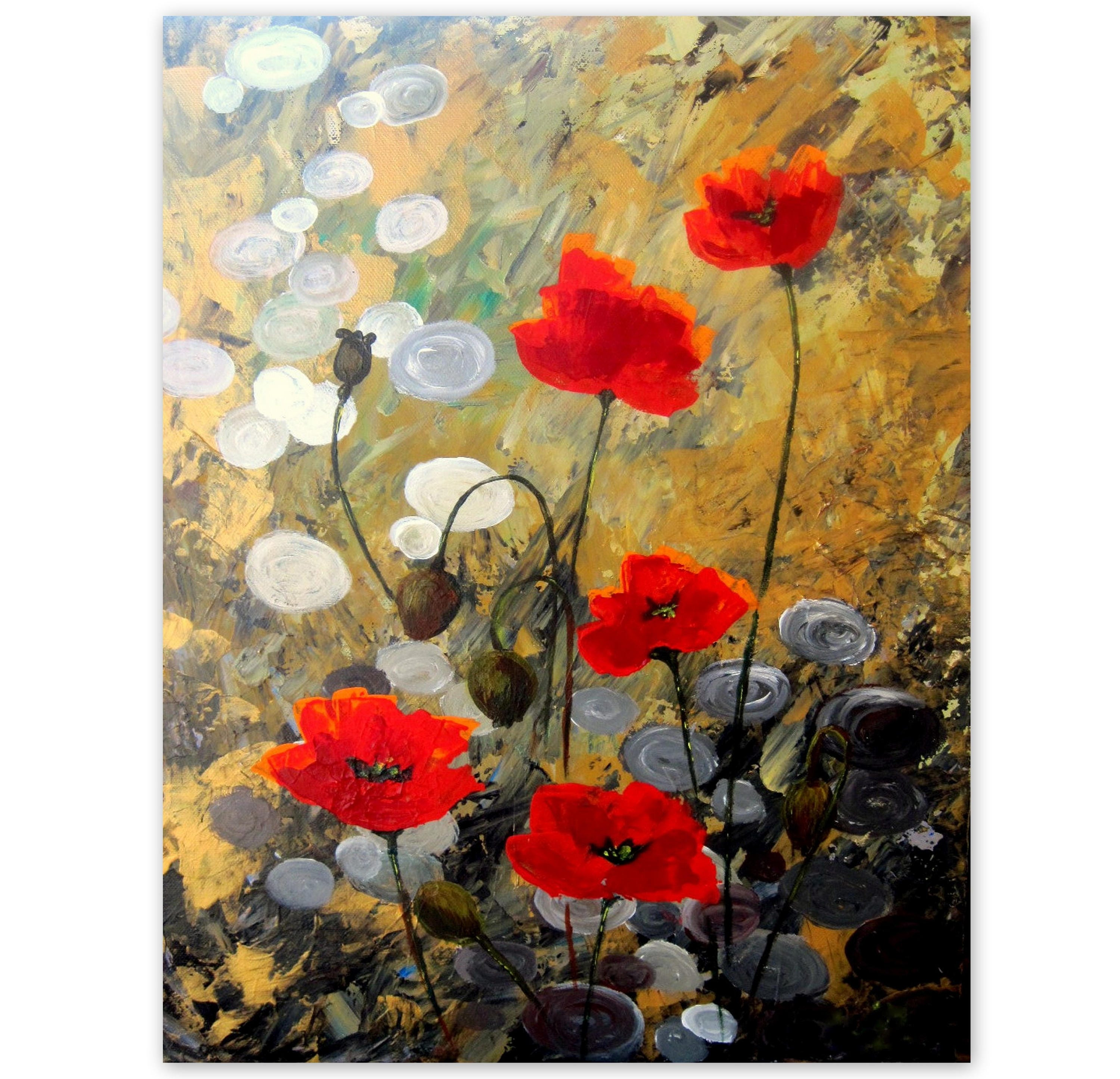 Original Acrylic Painting Poppy Field 4 Floral Abstract Etsy