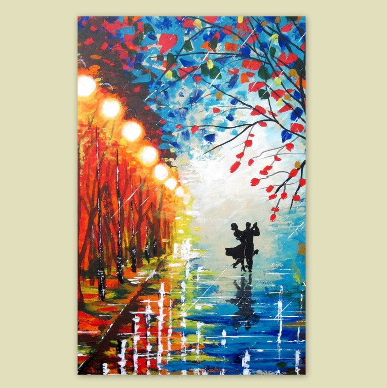 Large Original Acrylic Painting Couple In Love Rainy Etsy