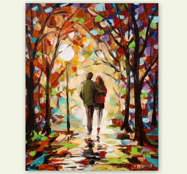 Couple In Love Original Romantic Acrylic Painting Night Etsy