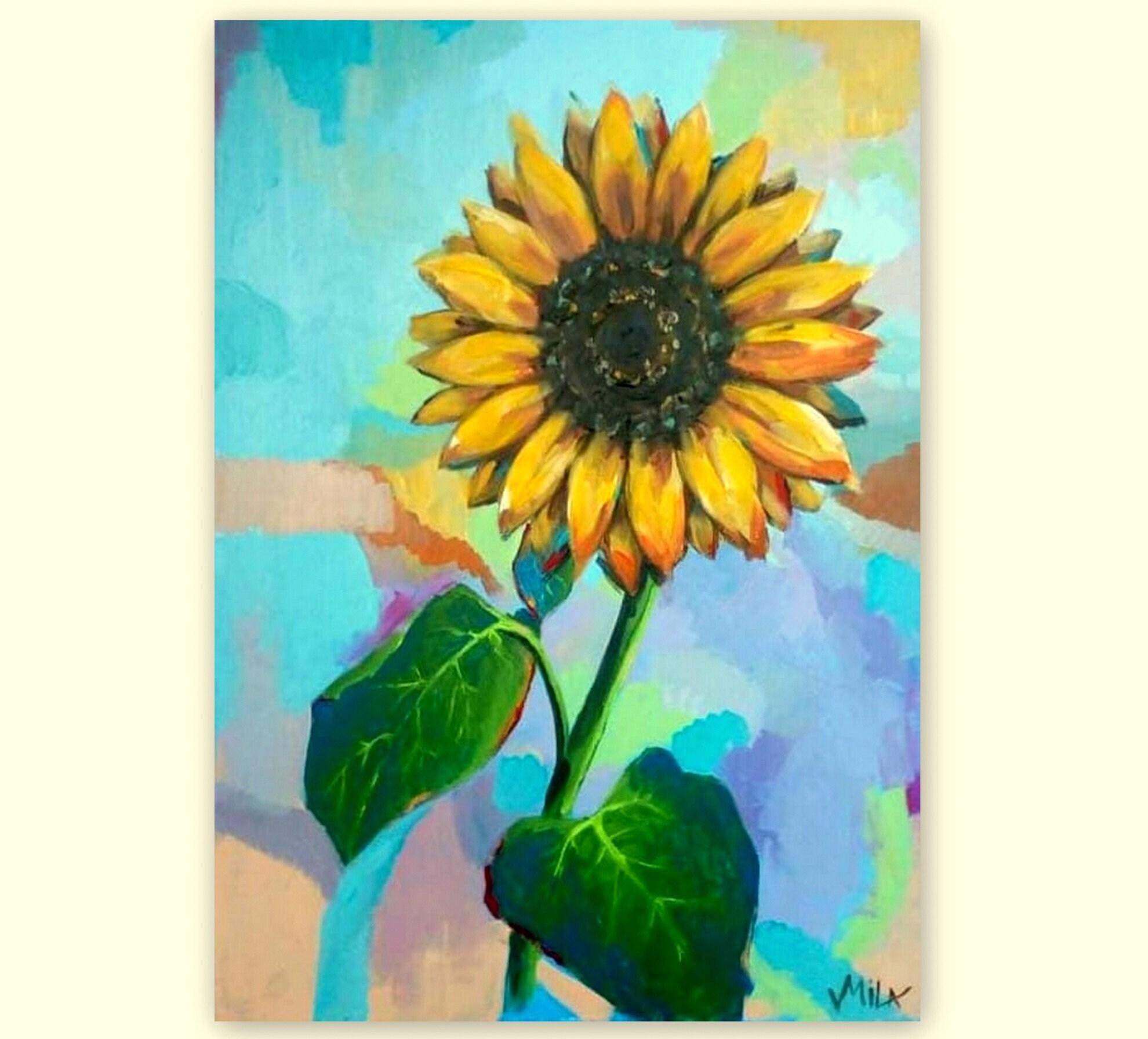 Sunflower original painting canvas acrylic art yellow sunflowers original canvas wall art
