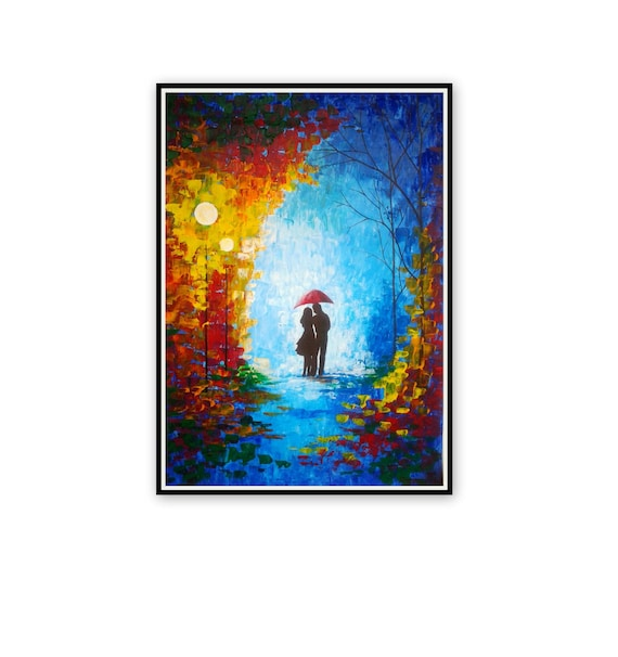 Large Original Oil Painting Couple With Umbrella Night