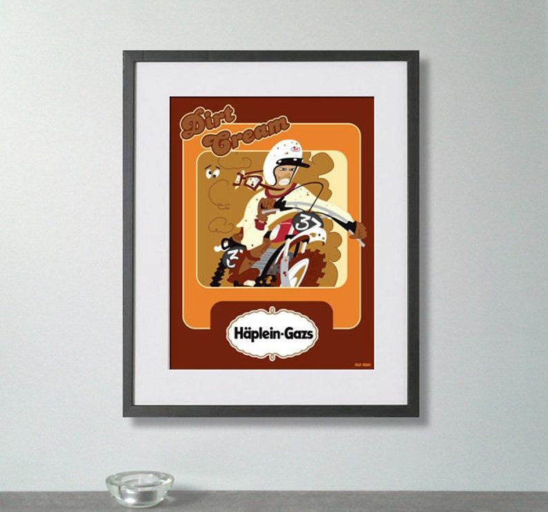 Dirt Cream art print, vintage inspered poster, retro ads, bike art print,  quote art print, retro art print, motorsport print
