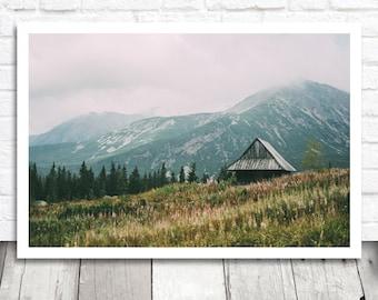 Mountain Cabin Print, Mountain Print, Digital Photo Download, Nature Print, Digital Download, Mountain Photograph, Printable Photography