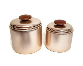 Copper Canisters Mirro Aluminum Wood Handles Two Small Storage Containers  sc 1 st  Etsy & Copper containers | Etsy