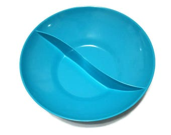 Turquoise Melmac Divided Serving Bowl Fifties Sixties Retro Plastic Dishes