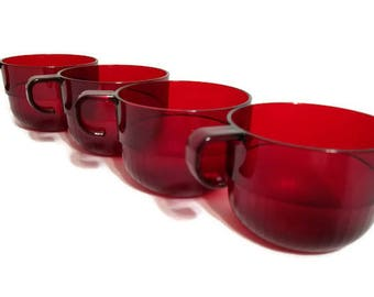 Tupperware Cranberry Preludio Cups Set of Four Acrylic Mugs