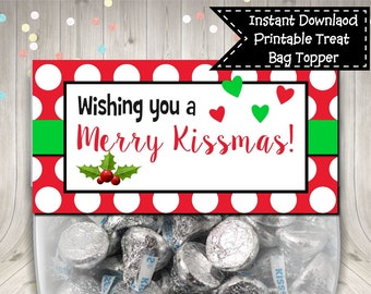 We Wish You A Merry Kissmas Christmas Treat Bag Topper Digital Printable INSTANT DOWNLOAD