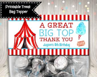 Digital file only Circus Bag Topper,TMNT Favor or Treat Bag Topper