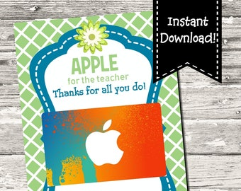 INSTANT DOWNLOAD Apple For The Teacher Thank You Card Teacher Thank You Printable Digital