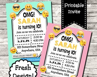 Emoji Birthday Party Invitation Digital Printable