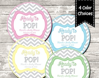 4 Color Choices Ready to Pop Gray Chevron Baby Shower Cupcake Toppers Favor Tags Printable Digital