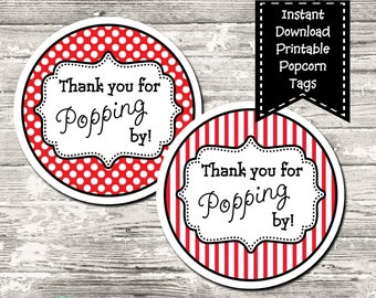 Thank You For Popping By Popcorn Label Favor Tags Circle ...