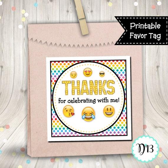 Emoji Birthday Party Rainbow Square Favor Tag Digital