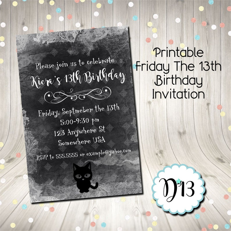 Friday The 13th Birthday Party Invitation With Free Thank You
