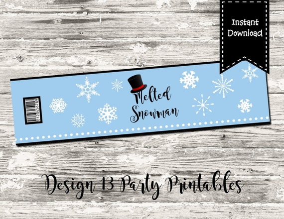 Melted Snowman Water Bottle Label Blue Snowflake Printable Digital