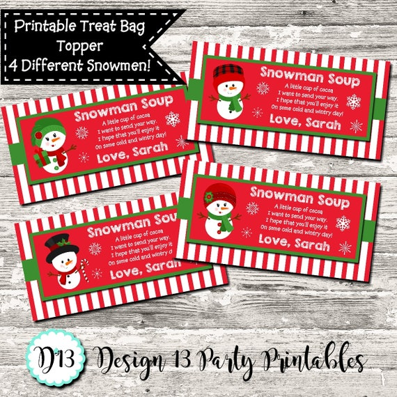photo relating to Snowman Soup Free Printable Bag Toppers titled Snowman Soup Xmas Deal with Bag Topper Desire Electronic Printable