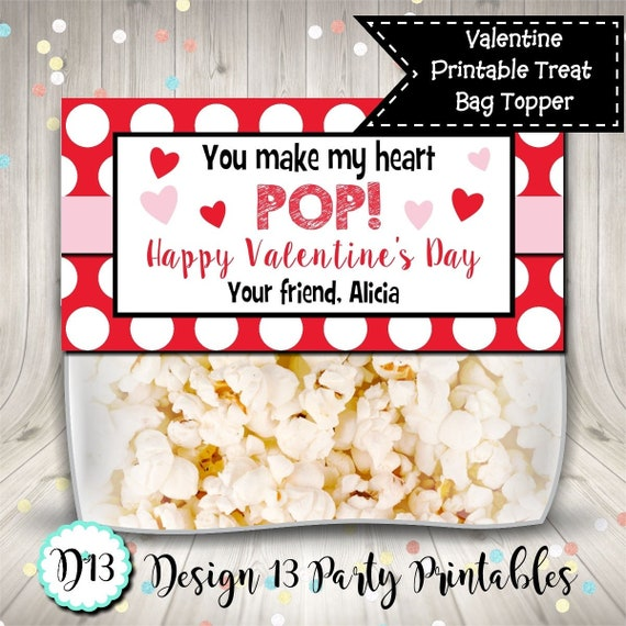 image about You Make My Heart Pop Valentine Printable called Yourself Produce My Center Pop Valentine Address Bag Topper Prefer