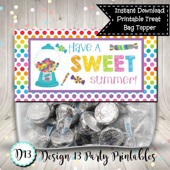 picture about Have a Sweet Summer Printable identified as Conclusion of Higher education Address Bag Topper Include A Adorable Summer time Rainbow