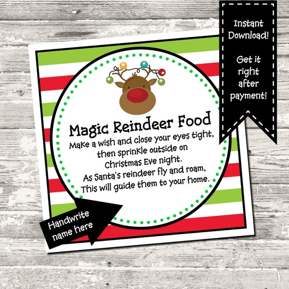 reindeer food tag digital printable instant download by design 13 catch my party catch my party