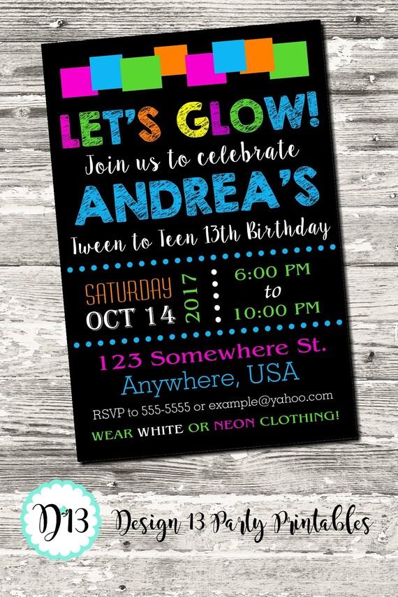Glow Neon Tween To Teen Birthday Party Invitation Printable Digital