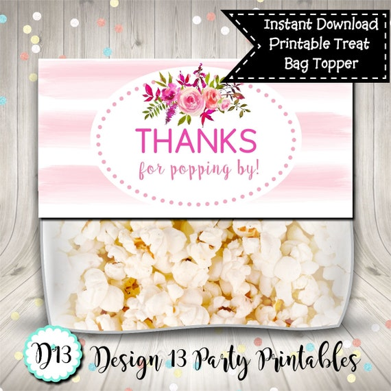 photo about Popcorn Bag Printable identified as Due for Popping By way of Red Thank Yourself Deal with Bag Topper