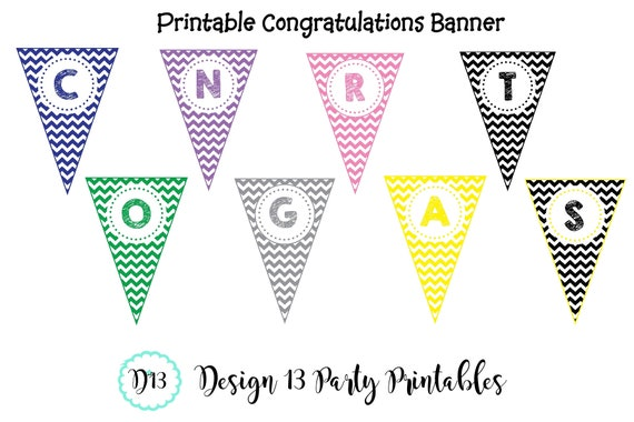 chevron congratulations graduation banner with name printable
