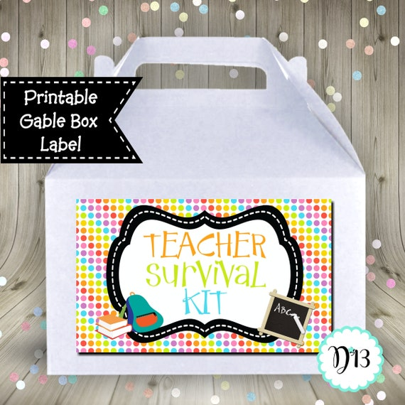 picture relating to Teacher Survival Kit Printable identify Trainer Survival Package Gable Box Want Box Label Electronic