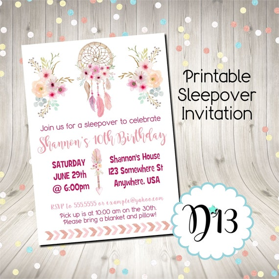 photograph relating to Printable Sleepover Invitations titled Dreamcatcher Boho Sleepover Sleep Get together Pajama Get together