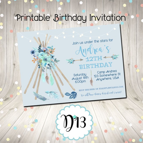 Boho Camping Dreamcatcher Birthday Bonfire Party Invitation Digital