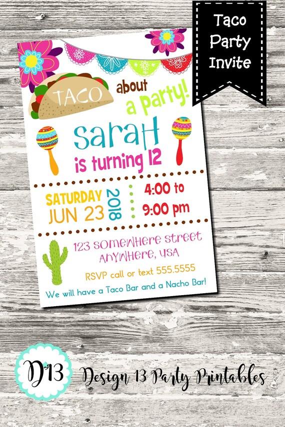 taco party taco bout a party birthday party invitation digital
