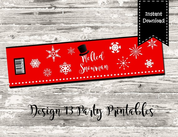 Melted Snowman Water Bottle Label Red Snowflake Printable Digital