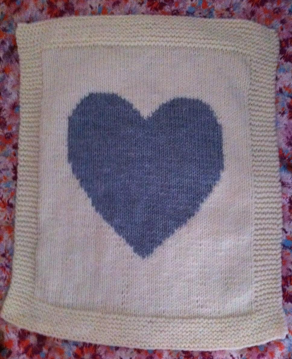 Heart Baby Blanket! /pram cover, chunky knitting pattern, easy knit ...