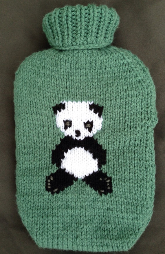 Panda Hot Water Bottle Cover Knitting Pattern Etsy