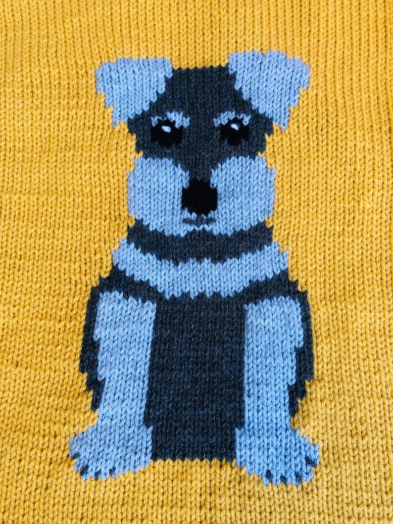 Schnauzer Puppy baby blanket knitting pattern 18 x 24 ...