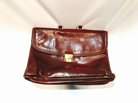 Vintage leather briefcase, Soft leather, Brown bri