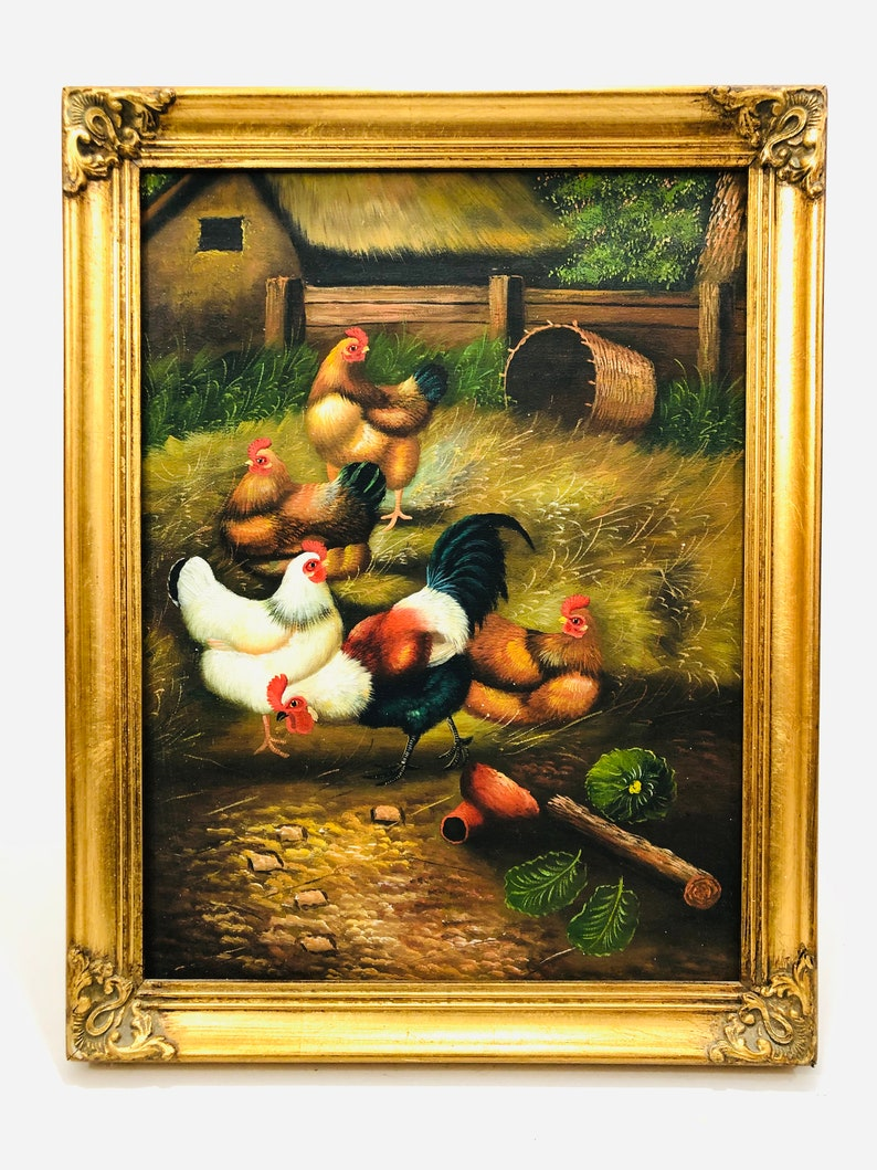 Rooster Chicken Coop Rooster Decor Farm Life Farm Decor Farm Painting Framed Painting Chicken Oil Painting Wall Art