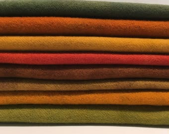 "hand dyed and felted wool for rug hooking and fiber arts ""fall assortment"""