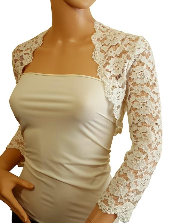 Womens Wedding leaf design Lace with half sleeve /& crop Bolero,Jacket Size 8-20