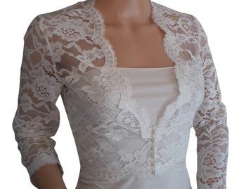 Bridal Lace Bolero/ Jacket in Ivory with V front sizes 8 to 18