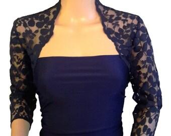 Ladies Navy Lace Shrug/Bolero 3/4 or Short Sleeve in Sizes UK  8,10,12,16 or 18